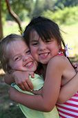 image of happy birthday  - Two little girls children best friends - JPG