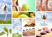 image of healthy food  - Collage made of many pictures about dieting - JPG