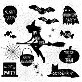 Halloween Silhouettes. Witch, Pumpkin, Black Cat.halloween Party. Spider Sticker. Trick Or Treat. poster