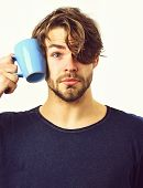 Caucasian Sexy Young Macho Holding Coffee Cup Or Mug poster