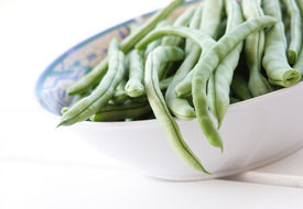 image of green bean  - bowl of fresh green beans - JPG