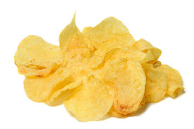 picture of potato chips  - Potatoe chips isolated on pure white background - JPG