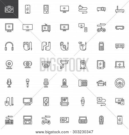 poster of Electronic Gadgets Line Icons Set. Linear Style Symbols Collection Outline Signs Pack. Vector Graphi