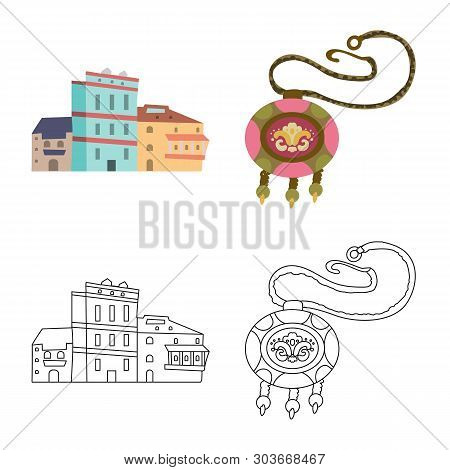 poster of Isolated Object Of Culture And Sightseeing Logo. Set Of Culture And Originality Vector Icon For Stoc