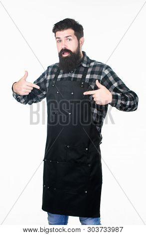 poster of Uniform For Barber Salon. Barbershop Concept. Hairdresser Barber Salon For Men. Man Brutal Bearded H