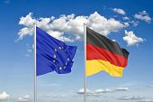 European Union Vs Germany. Thick Colored Silky Flags Of European Union And Germany. 3d Illustration  poster