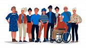 Diverse Society People. Group Of Different Multiracial And Multicultural People Standing Together. V poster