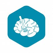 Fork Is Inserted Into The Brain Icon. Simple Illustration Of Fork Is Inserted Into The Brain Vector  poster