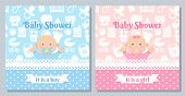 Baby Invitation Card. Vector. Baby Shower Boy, Girl Design. Cute Pink, Blue Banner. Birth Party Back poster