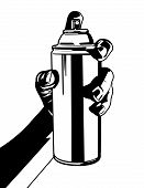 stock photo of mines  - This is another vector illustration of mine of a hand holding a spray can - JPG