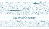 Ornament With Sea Food. Sea Fish And Mollusks. Fresh Sea Fish With Ingredients. Vector Seafood Ornam poster