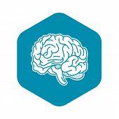 Genius Brain Icon. Simple Illustration Of Genius Brain Vector Icon For Web Design Isolated On White  poster