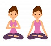 Cute Cartoon Young Woman Doing Yoga And Meditating In Lotus Pose. Mindfulness And Meditation Vector  poster