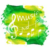 Music Notes On Paint. Music Festival, Music, Sign. Isolated On White.music Colorful Background With  poster