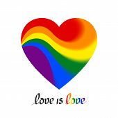 Lgbt Concept - Heart Shape In Lgbtq Flag Colors With The Text Love Is Love. Icon Of Love Transgender poster