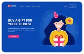 Website Template For Those Who Want A Gift. Girl Holding A Gift And Smiling. Birthday Party, Charact poster