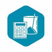 Calculator Lab Beaker Icon. Simple Illustration Of Calculator Lab Beaker Vector Icon For Web Design  poster
