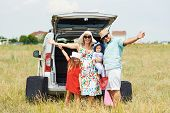 Vacation, Travel - Family Ready For The Travel For Summer Vacation. Suitcases And Car Route. People  poster