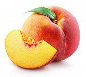 Ripe Whole Peach Fruit With Green Leaf And Slice Isolated On White Background With Clipping Path. Fu poster