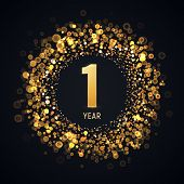 1 Year Anniversary Isolated Vector Design Element. One First Birthday Logo With Blurred Light Effect poster