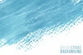 Vector Hand Drawn Watercolor Brush Stain As Horizontal Banner. Colorful Painted Stroke. Blue Color H poster