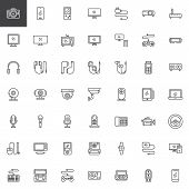 Electronic Gadgets Line Icons Set. Linear Style Symbols Collection Outline Signs Pack. Vector Graphi poster