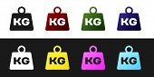 Set Weight Icon Isolated On Black And White Background. Kilogram Weight Block For Weight Lifting And poster