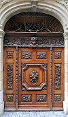 pic of wooden door  - Antique wooden door with a vintage ornament - JPG