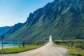 Roads And Natural Landscape In The Heart Of Lofoten. Gimsoystraumbrua Bridge Is One Of Many Bridges  poster