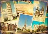 Vintage travel background with retro photos of european landmarks. Eiffel tower in Paris, Leaning To poster