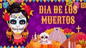 Mexican Traditional Religious Holiday Or Day Of Dead. Vector Woman In Calavera Skull Painting, Aztec poster