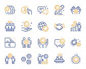 Employees Benefits Line Icons. Business Strategy, Handshake And People Collaboration. Teamwork, Soci poster