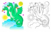 Fantasy Illustration Of Cute Dragon. Colorful And Black And White Page For Coloring Book. Printable  poster