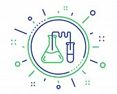 Medicine Chemistry Lab Line Icon. Medical Laboratory Sign. Quality Design Elements. Technology Chemi poster