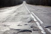 Bad Russian Roads / Hole In The Asphalt, Risk Of Movement By Car, Bad Asphalt, Dangerous Road, Potho poster