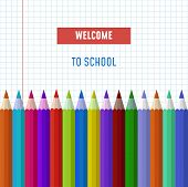 Back To School Vector Text Logo With Pencils On Transparent Background And Space For Your Photo. Bac poster