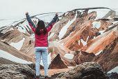 Traveler Hike At Landmannalaugar Iceland Highland poster