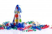 image of happy birthday  - A brightly colored birthday hat and streamers on a white background with copy space - JPG