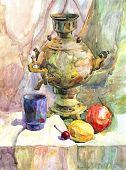Watercolor Texture Painting, Still Life Painting Russian Teapot. Still Life Hand Drawn Food Illustra poster