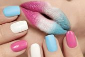 Multi-colored Lip Makeup And Nail Design With Pink, Blue Matte And White Lacquer With Different Form poster