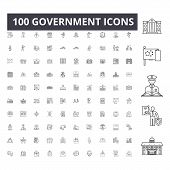 Government Line Icons, Signs, Vector Set, Outline Illustration Concept poster