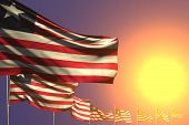 Pretty Many Liberia Flags Placed Diagonal On Sunset With Place For Your Text - Any Occasion Flag 3d  poster
