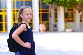Portrair Happy Smiling Kid Back To School. Child Little Freckles Girl With Bag Go To Elementary Scho poster