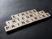 Ethics Integrity Principles, Business Words Quotes Concept poster
