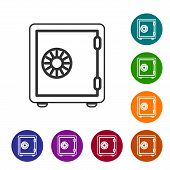 Grey Safe Line Icon Isolated On White Background. The Door Safe A Bank Vault With A Combination Lock poster