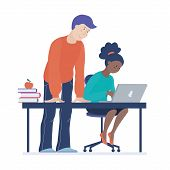 Teenage African American Black Girl Working On Computer In Classroom, Teacher Standing Near Helping, poster