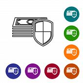 Grey Money Protection Line Icon Isolated On White Background. Financial Security, Bank Account Prote poster