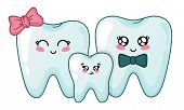 Kawaii Teeth Family - Cute Cartoon Characters On White Backgroound, Concept Of Family Dentistry - Pa poster