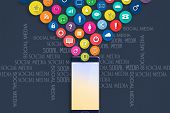 Concept Social Media. Social Icons Fly Out Of A Mobile Phone. Social Media Background. Communication poster