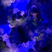Pink, Blue And Purple Seamless Pattern Watercolor Blots On Black Background. Abstract Watercolor Pat poster
